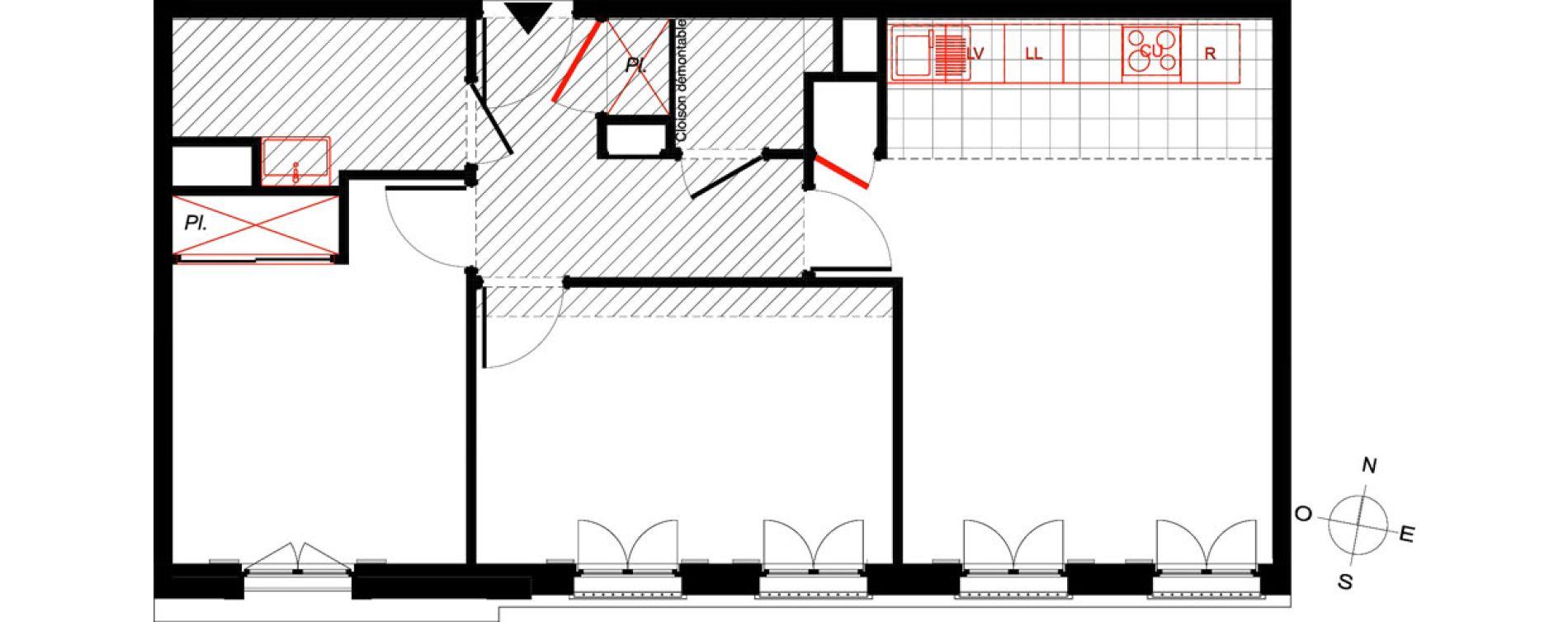 Appartement T3 de 58,90 m2 à Saint-Malo Intra-muros