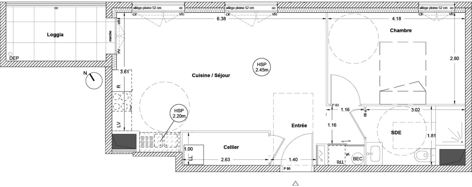 Appartement T2 de 46,90 m2 à Vezin-Le-Coquet Centre