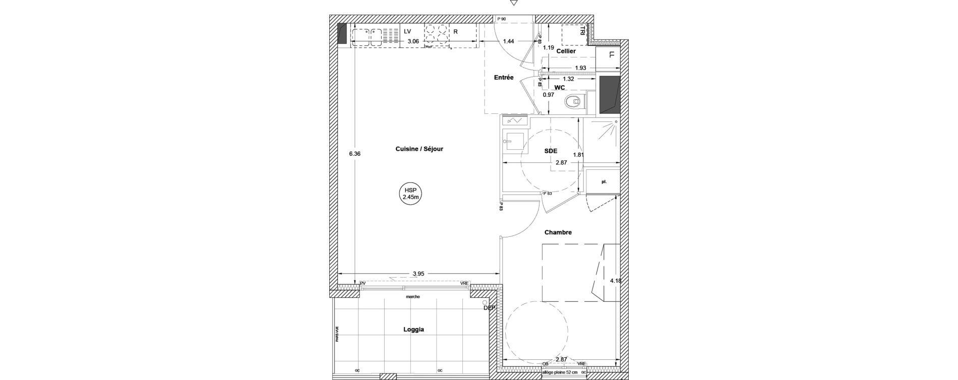 Appartement T2 de 46,40 m2 à Vezin-Le-Coquet Centre