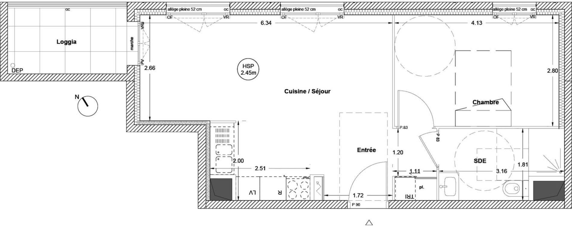 Appartement T2 de 43,90 m2 à Vezin-Le-Coquet Centre