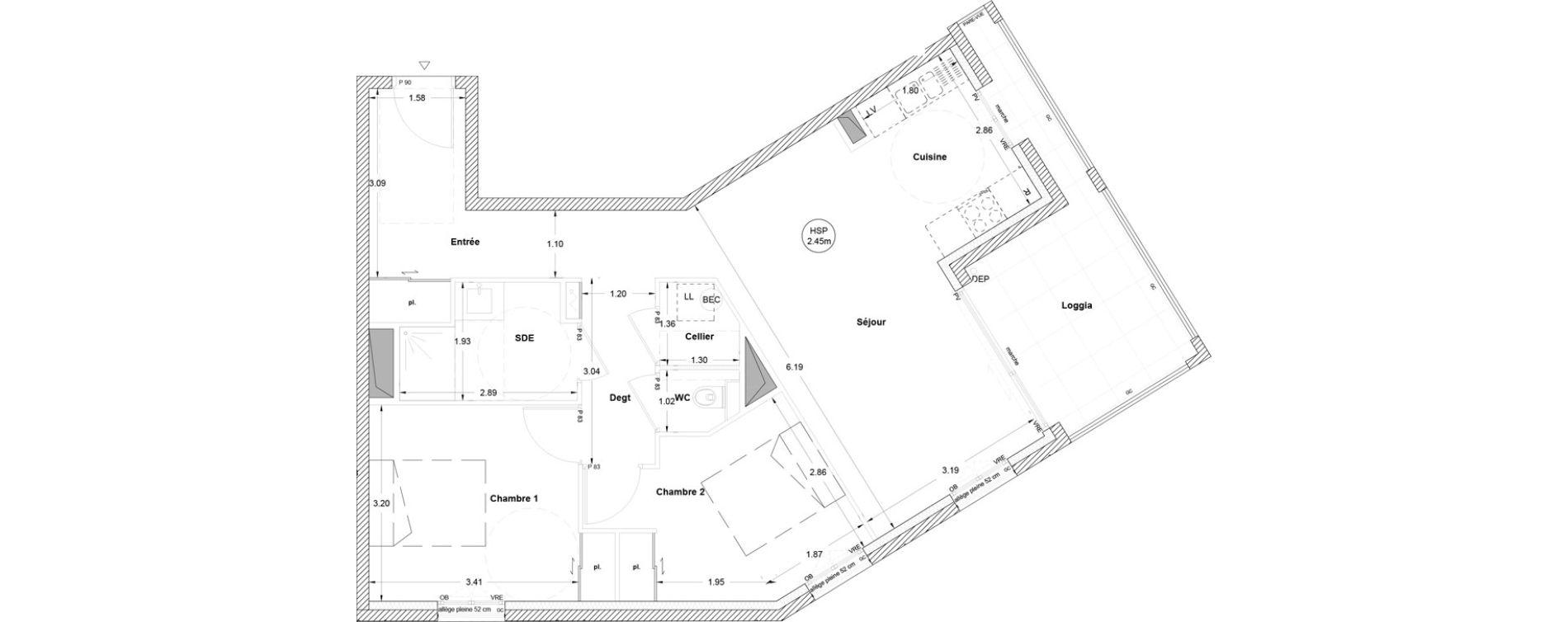 Appartement T3 de 67,60 m2 à Vezin-Le-Coquet Centre