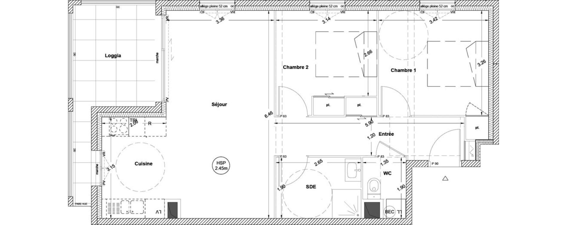 Appartement T3 de 63,80 m2 à Vezin-Le-Coquet Centre