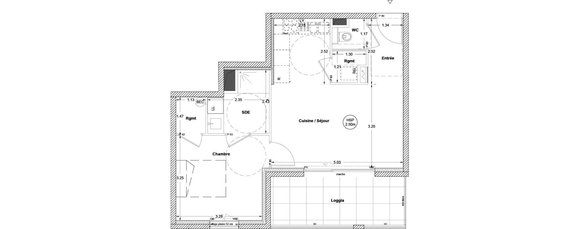 Appartement T2 de 44,20 m2 à Vezin-Le-Coquet Centre