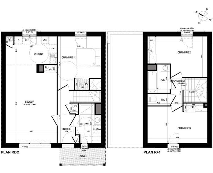 Maison t4 lanester n 661 sud ouest programme for Plan maison sud ouest