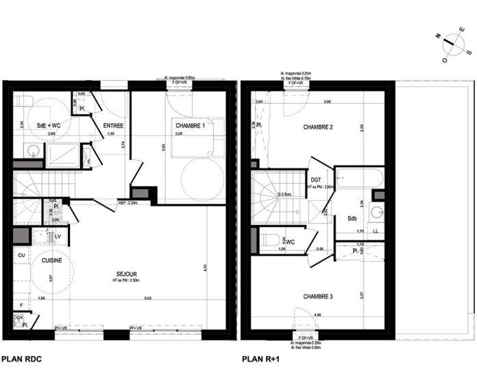 Maison t4 lanester n 666 so les villas du scorff for Plan maison t4