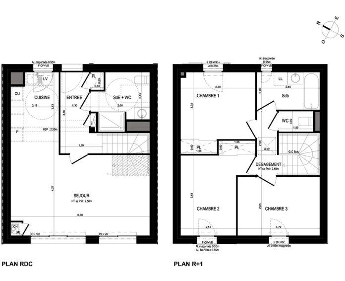 Maison t4 lanester n 672 sud ouest programme for Plan maison sud ouest