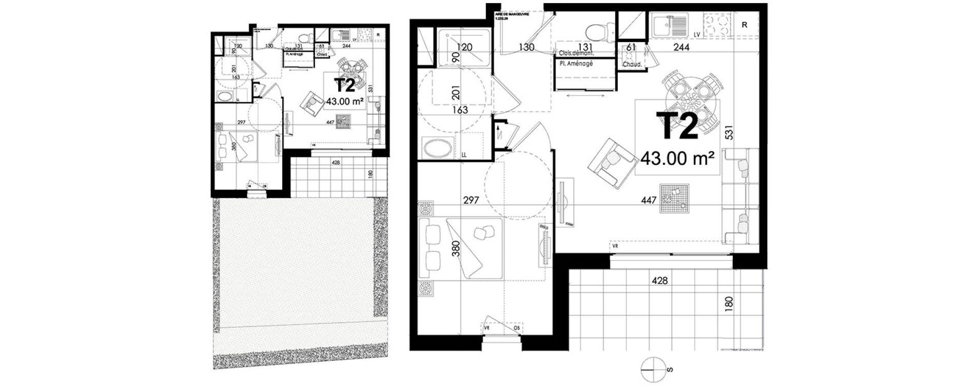 Appartement T2 de 43,00 m2 à Theix Centre