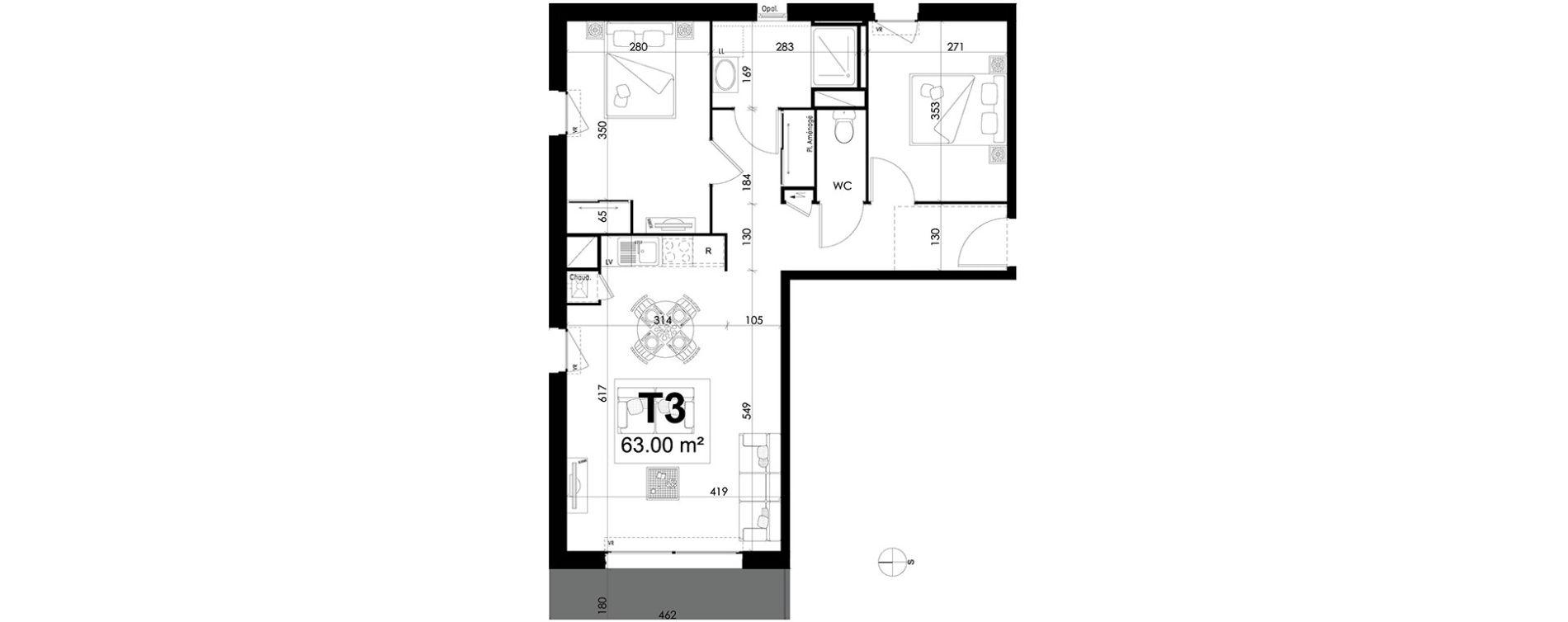 Appartement T3 de 63,00 m2 à Theix Centre