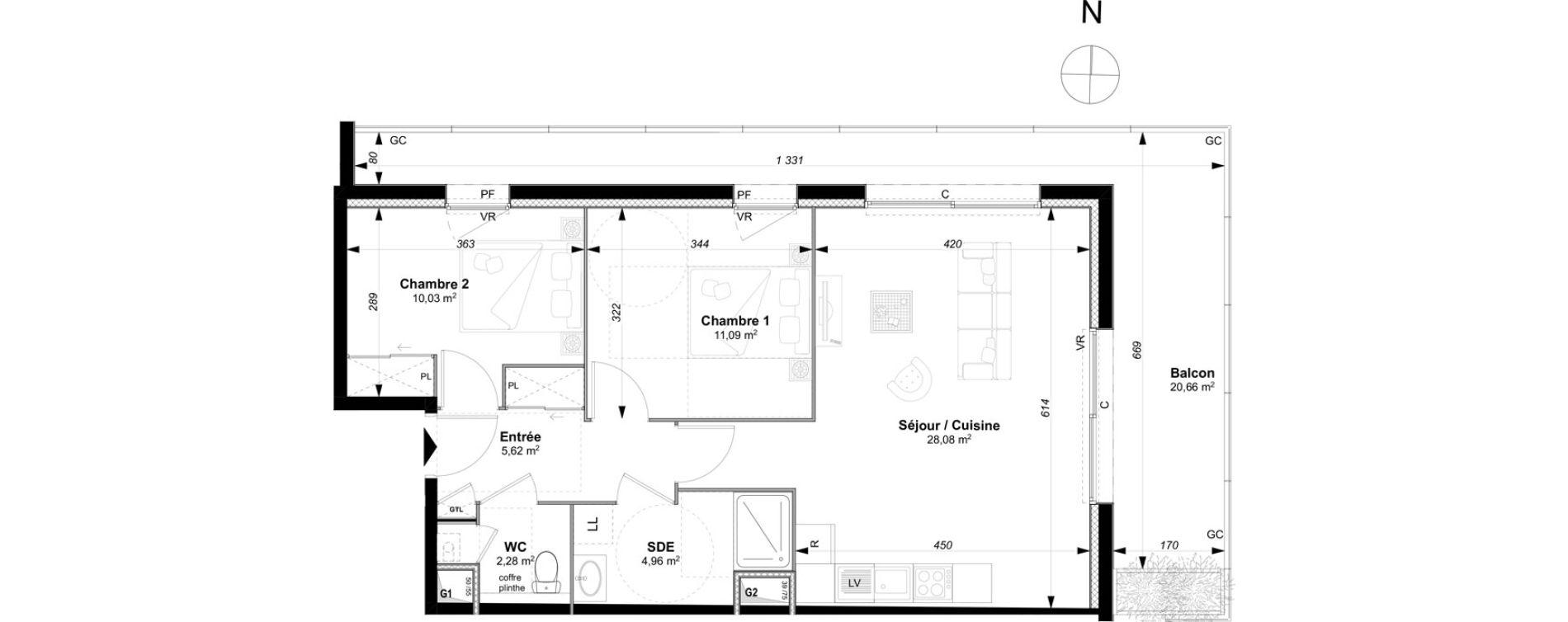 Appartement T3 de 62,06 m2 à Vannes Le rohan