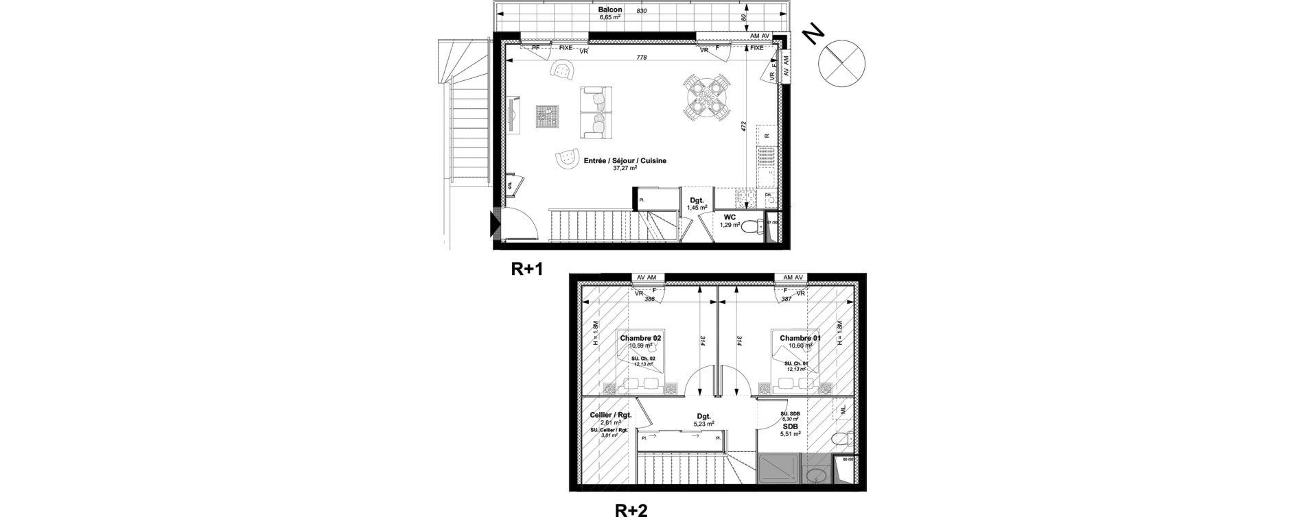 Duplex T3 de 74,55 m2 à Vannes Le rohan