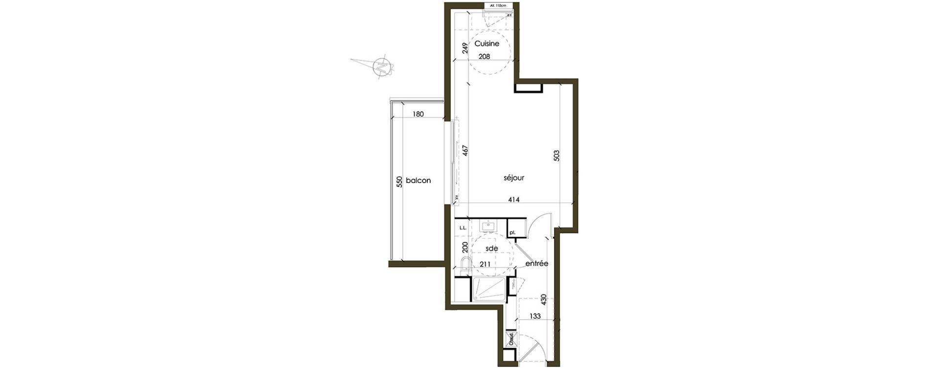 Appartement T1 de 36,36 m2 à Vannes Nord est