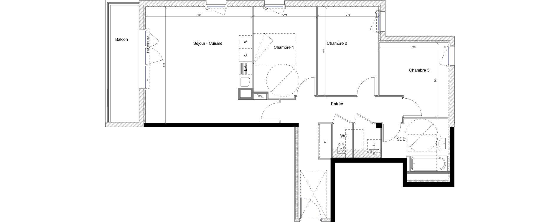 Appartement T4 de 82,06 m2 à Vannes Nord - gare