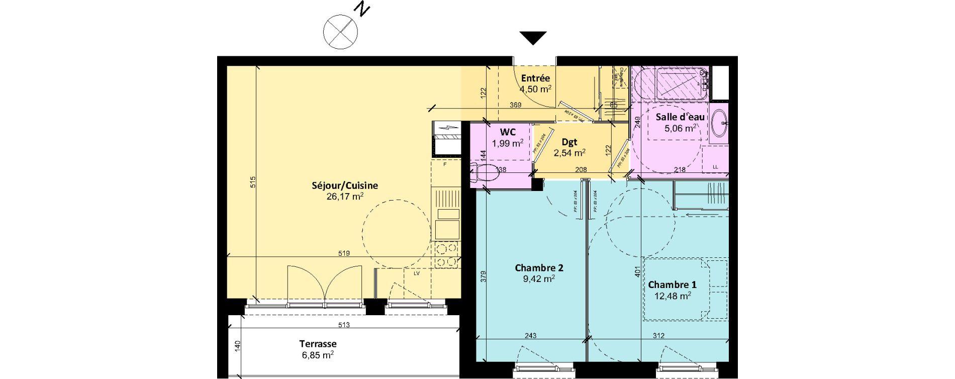 Appartement T3 de 62,16 m2 à Chartres Centre