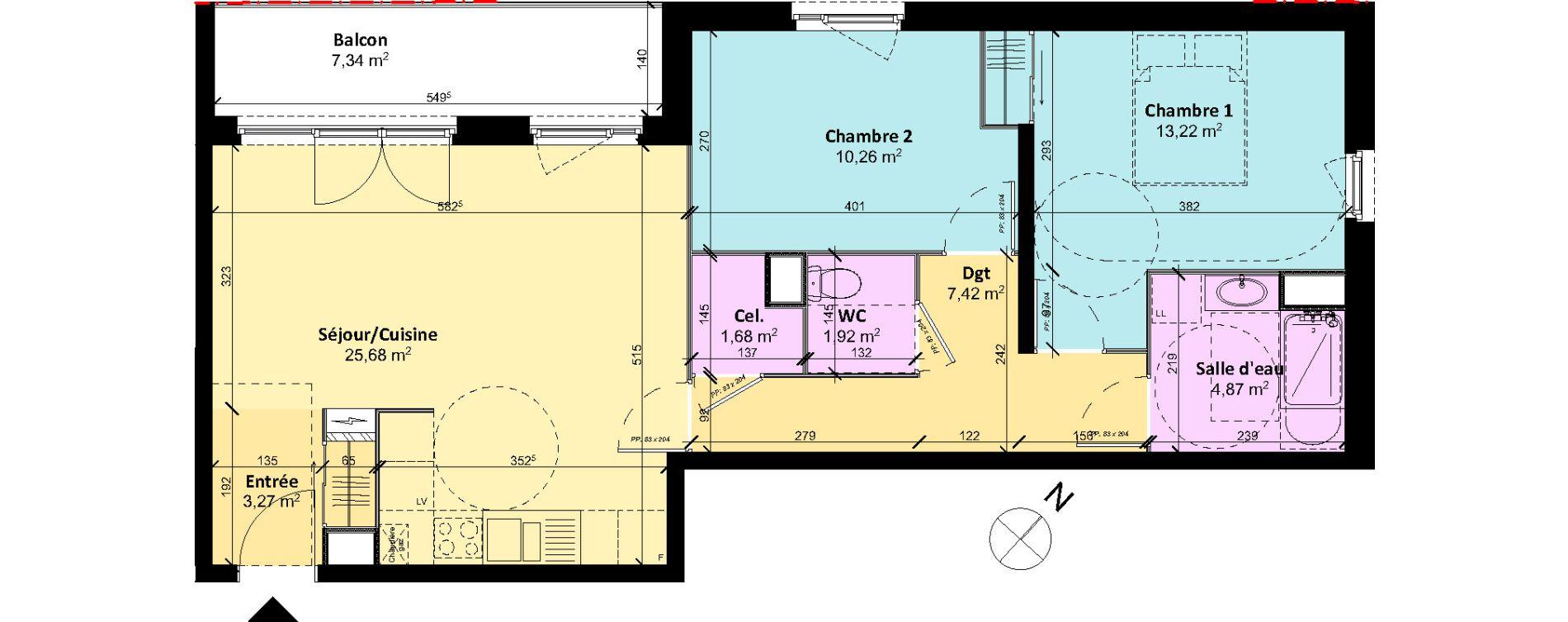 Appartement T3 de 68,32 m2 à Chartres Centre
