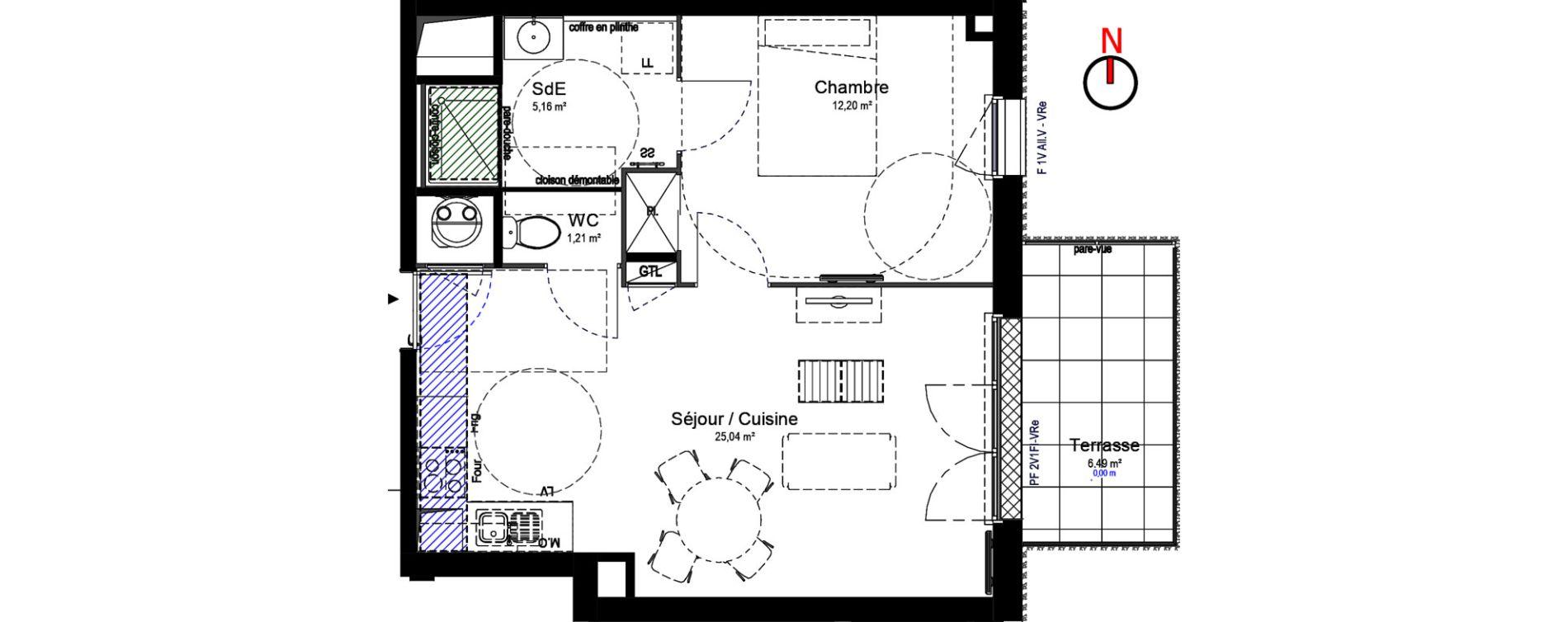 Appartement T2 de 43,59 m2 à Chartres Centre