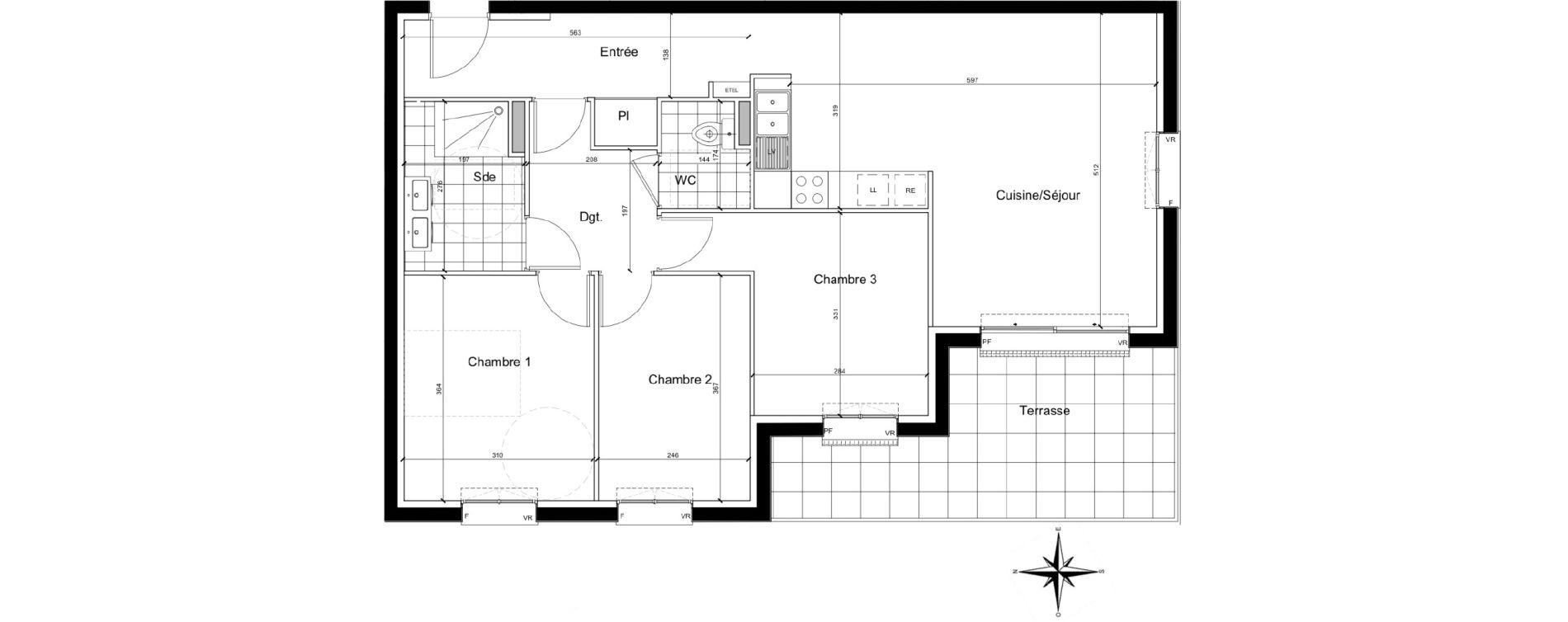 Appartement T4 de 79,69 m2 à Chartres Beaulieu - lavoisier - petits clos
