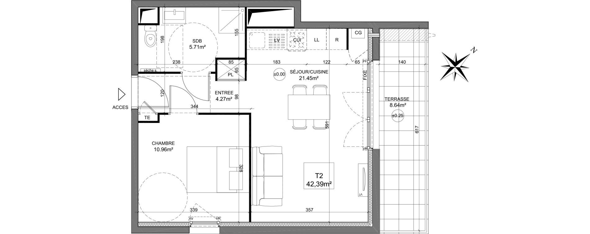 Appartement T2 de 42,39 m2 à Dreux Zac du square