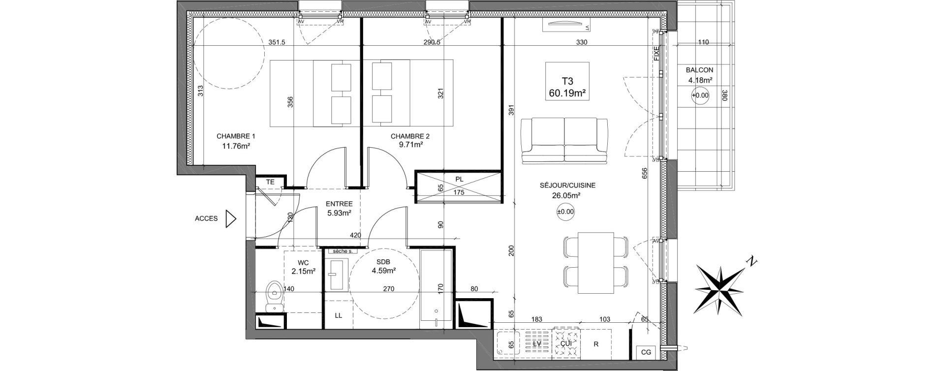 Appartement T3 de 60,19 m2 à Dreux Zac du square