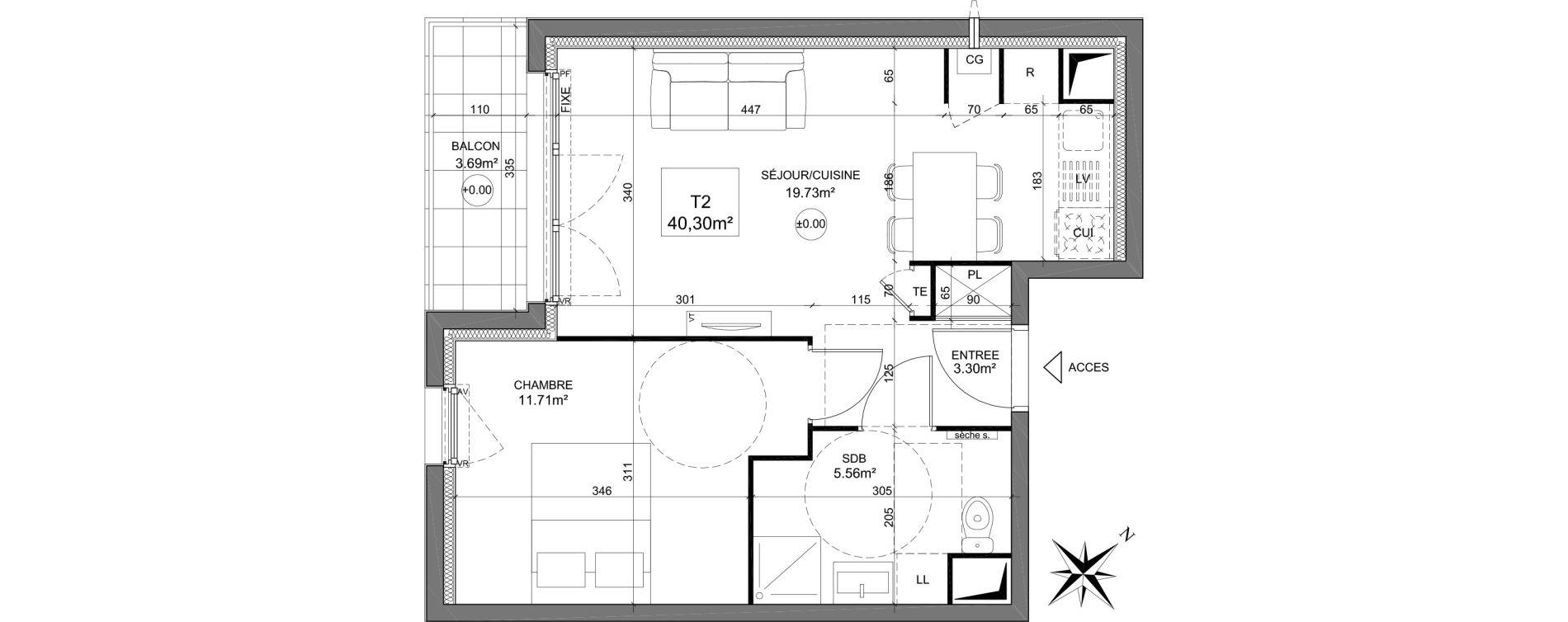 Appartement T2 de 40,30 m2 à Dreux Zac du square