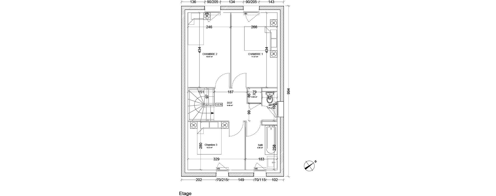 Maison T4 de 85,76 m2 à Hanches Centre