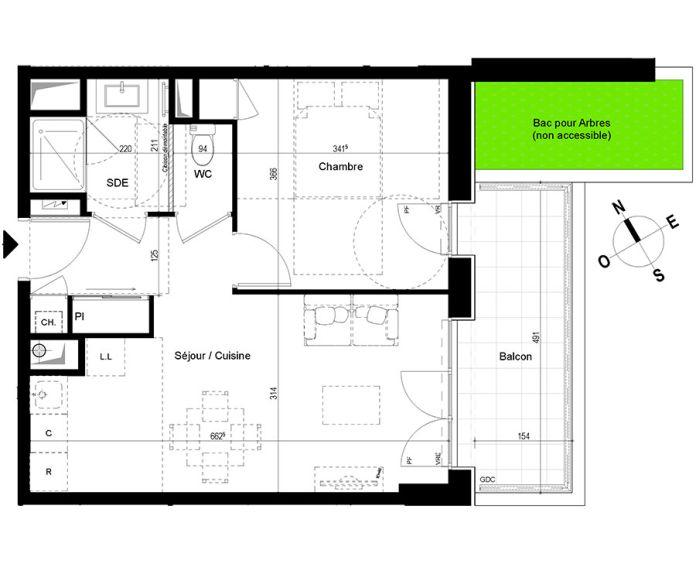 appartement t2 chambray l s tours n 816 se el ments. Black Bedroom Furniture Sets. Home Design Ideas