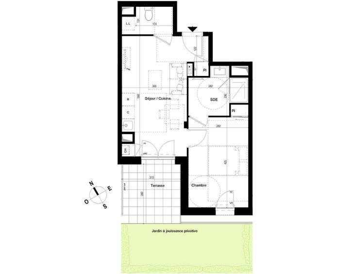 appartement t2 chambray l s tours n 828 s el ments. Black Bedroom Furniture Sets. Home Design Ideas