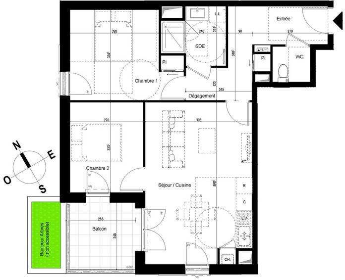 appartement t3 chambray l s tours n 830 o el ments. Black Bedroom Furniture Sets. Home Design Ideas