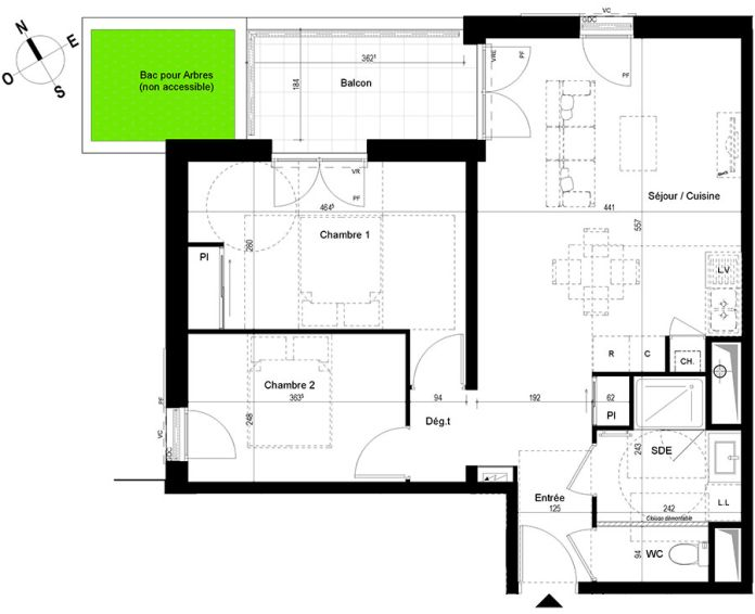 appartement t3 chambray l s tours n 839 n el ments. Black Bedroom Furniture Sets. Home Design Ideas