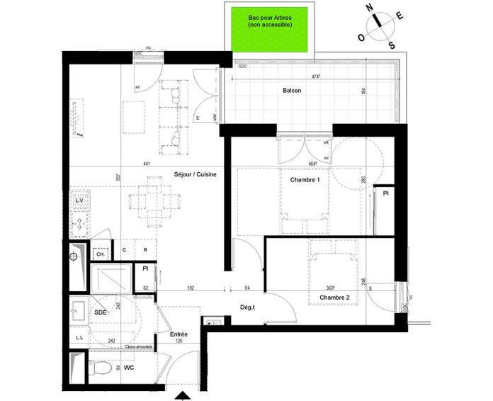 appartement t3 chambray l s tours n 840 e el ments. Black Bedroom Furniture Sets. Home Design Ideas