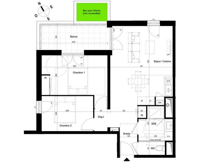 appartement t3 chambray l s tours n 847 n el ments. Black Bedroom Furniture Sets. Home Design Ideas
