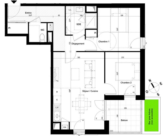 appartement t3 chambray l s tours n 850 se el ments. Black Bedroom Furniture Sets. Home Design Ideas