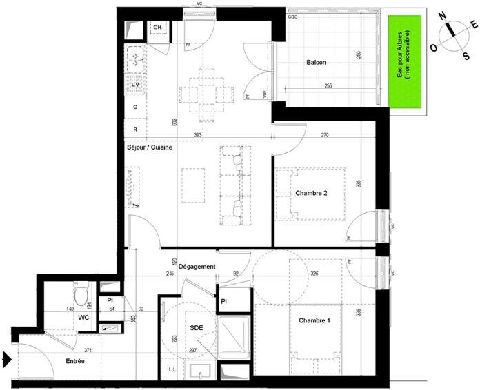 appartement t3 chambray l s tours n 861 o el ments. Black Bedroom Furniture Sets. Home Design Ideas