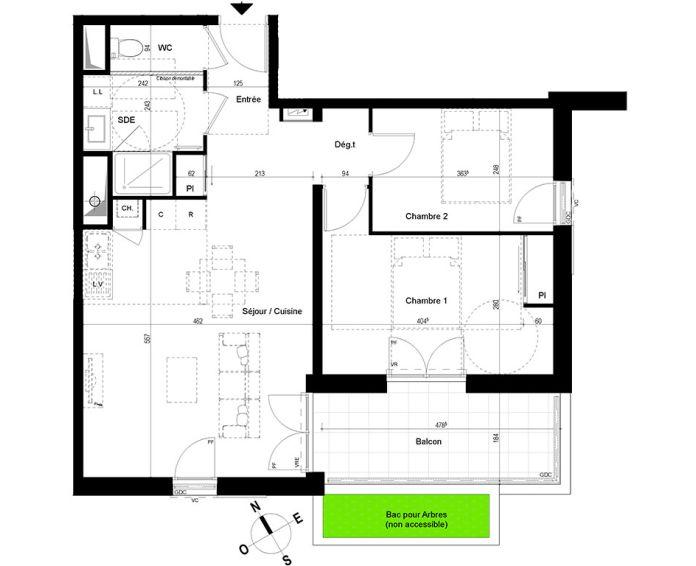 appartement t3 chambray l s tours n 870 n el ments. Black Bedroom Furniture Sets. Home Design Ideas
