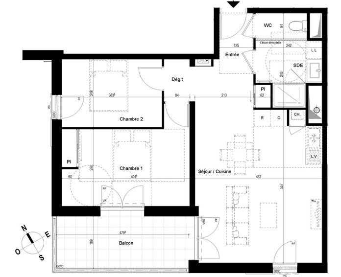 appartement t3 chambray l s tours n 878 ne el ments. Black Bedroom Furniture Sets. Home Design Ideas