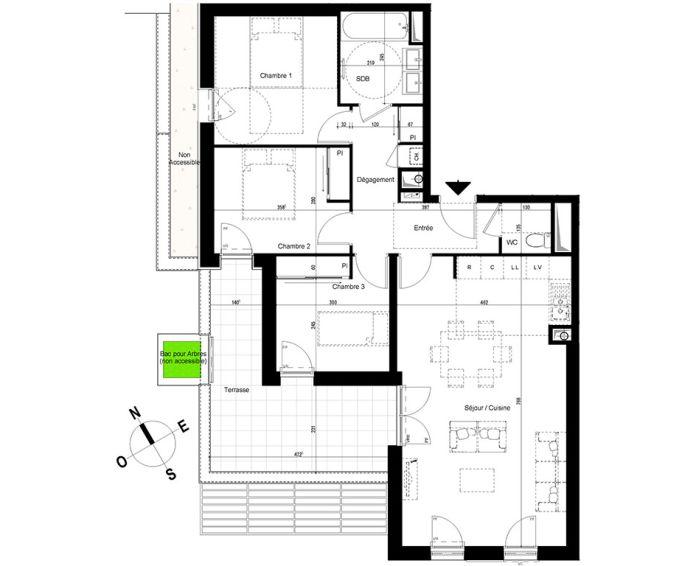 appartement t4 chambray l s tours n 882 o el ments. Black Bedroom Furniture Sets. Home Design Ideas