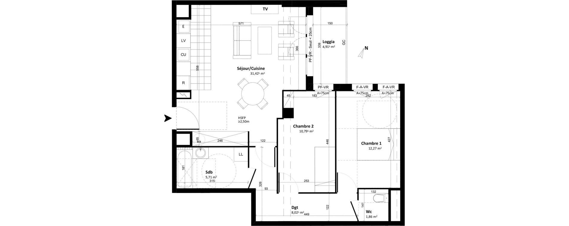 Appartement T3 de 70,09 m2 à Tours Tours cathedrale