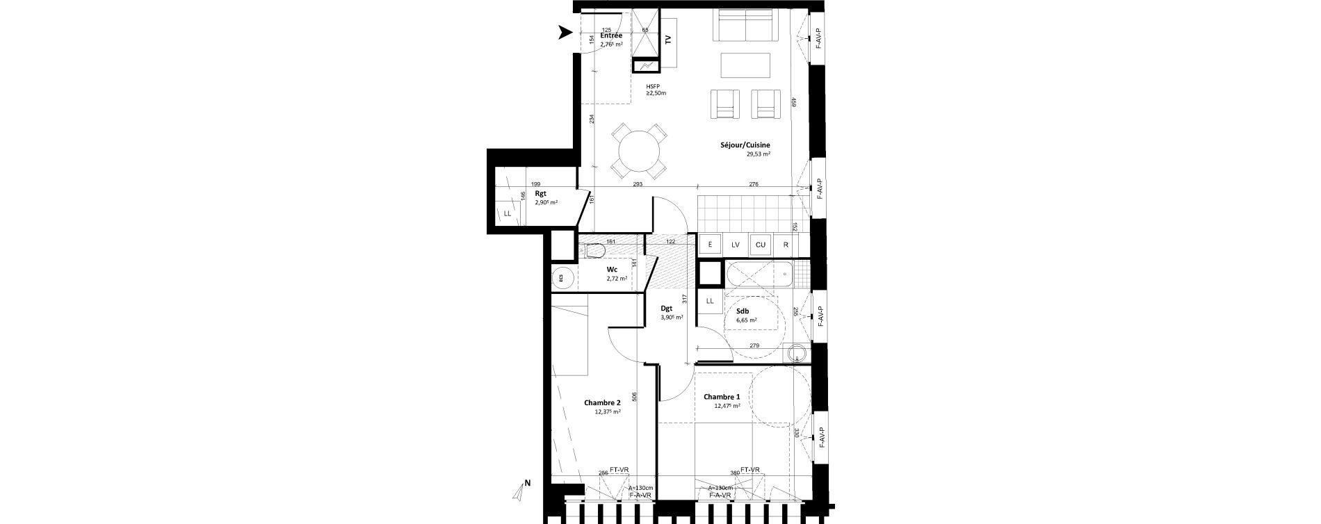 Appartement T3 de 73,34 m2 à Tours Tours cathedrale