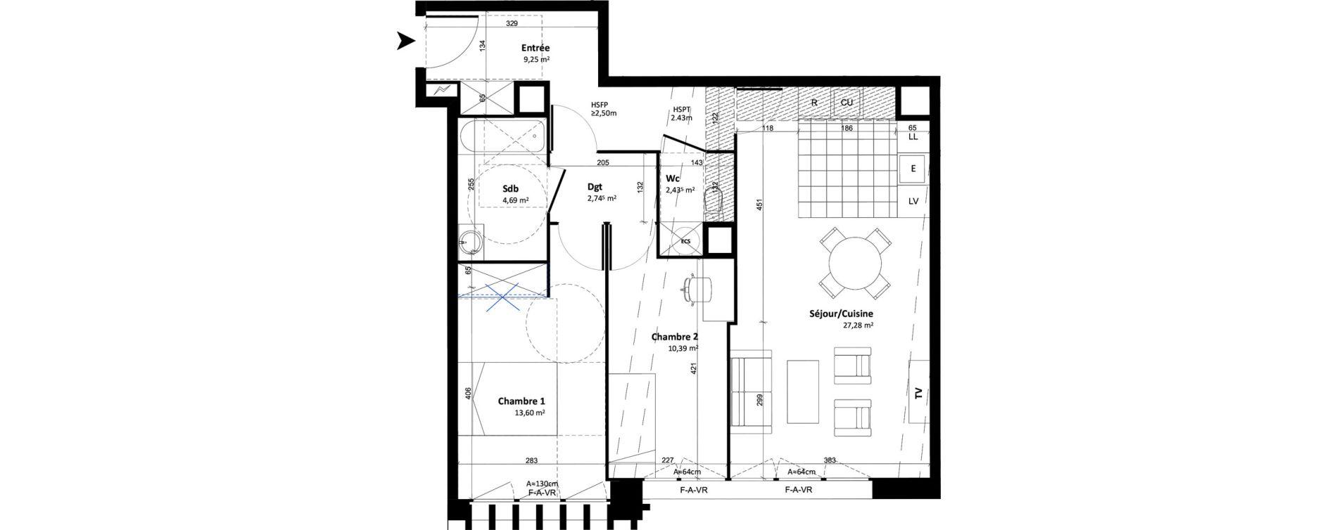 Appartement T3 de 70,38 m2 à Tours Tours cathedrale