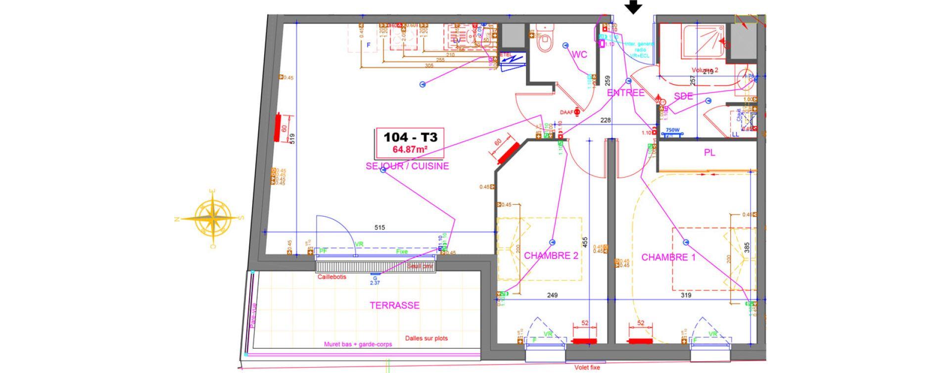 Plan T3 neuf à Tours de