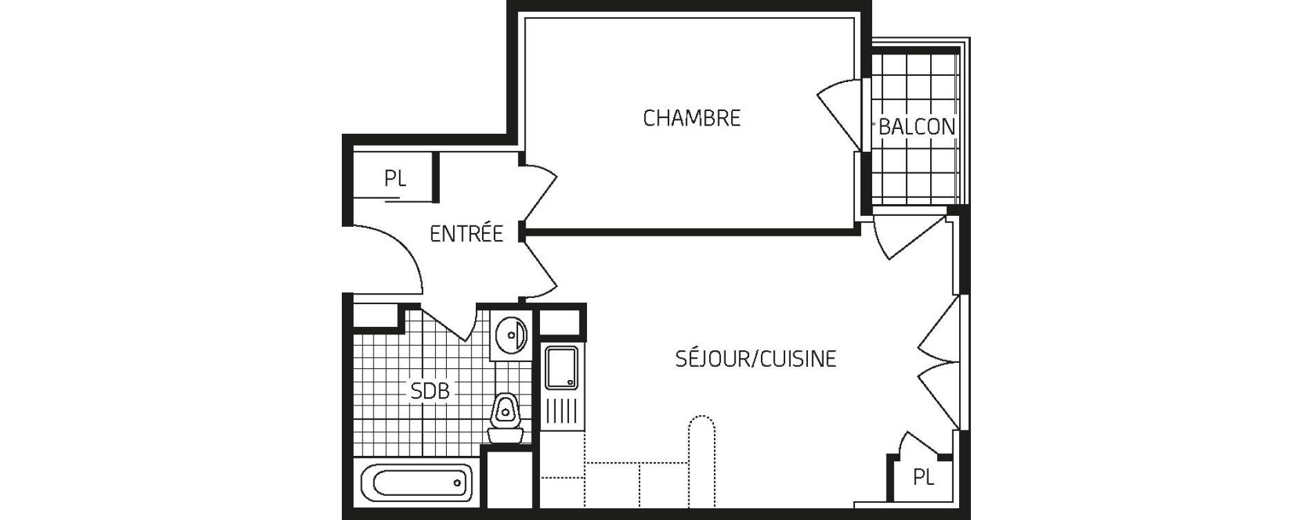 Appartement T2 de 43,42 m2 à Orléans Barrière st-marc - la fontaine