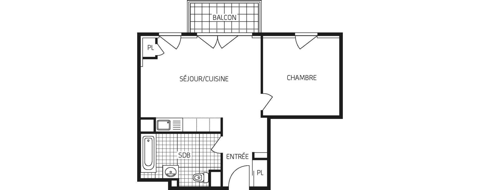 Appartement T2 de 44,92 m2 à Orléans Barrière st-marc - la fontaine