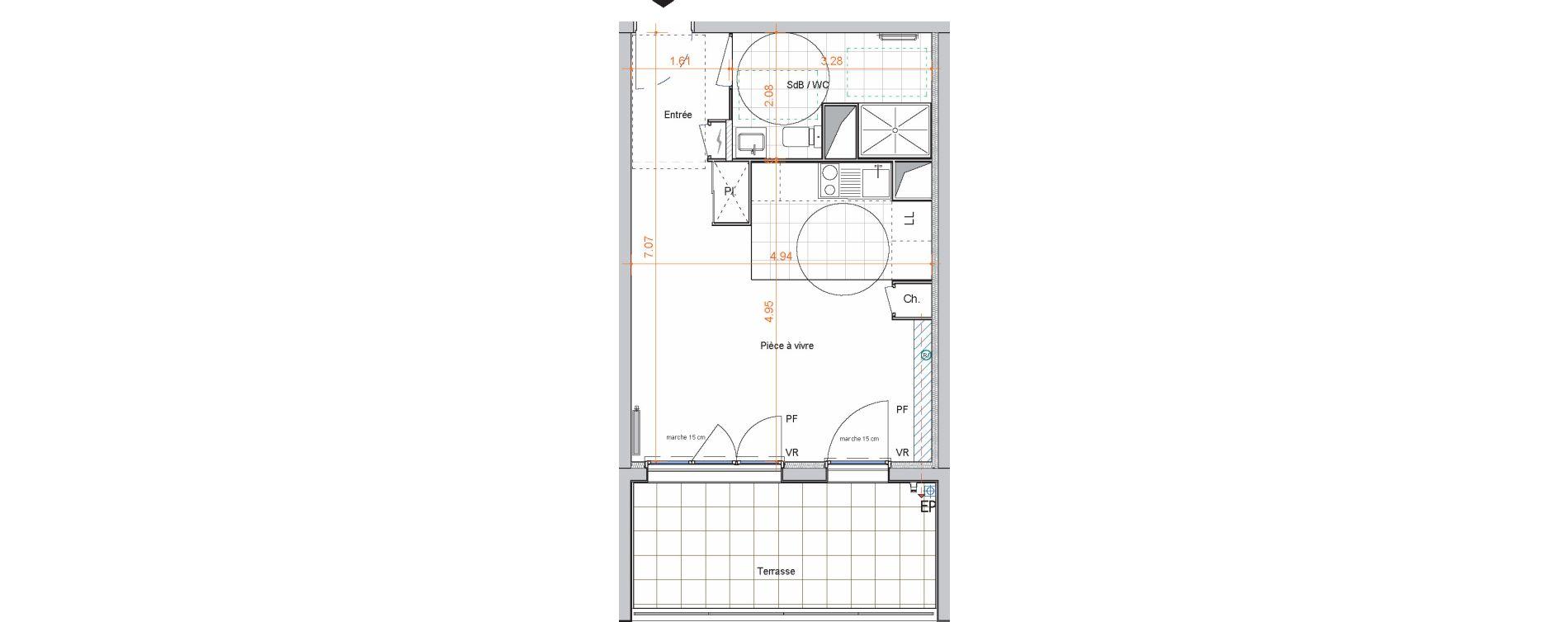 Appartement T1 de 33,30 m2 à Saint-Jean-De-Braye Centre ville