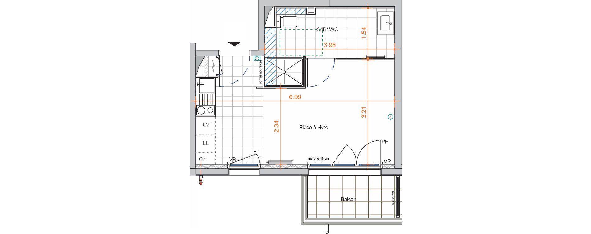 Appartement T1 de 25,10 m2 à Saint-Jean-De-Braye Centre ville