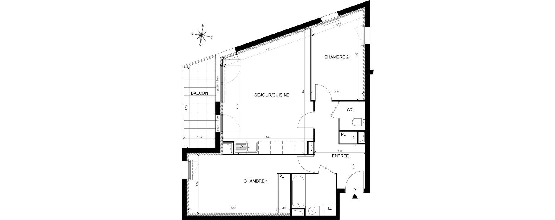 Appartement T3 de 64,81 m2 à Saran Chatonnerie