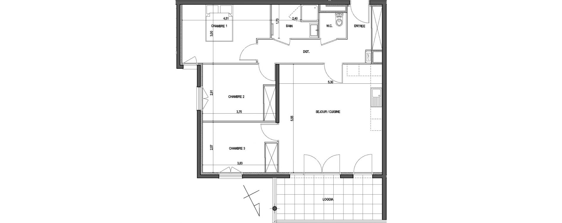 Appartement T4 de 79,05 m2 à Ajaccio Centre