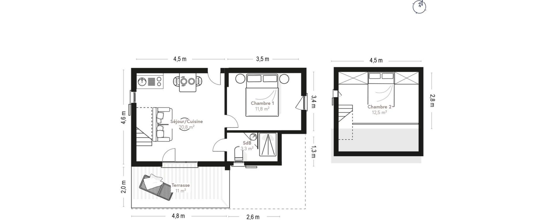Appartement T3 de 48,30 m2 à Lecci Centre