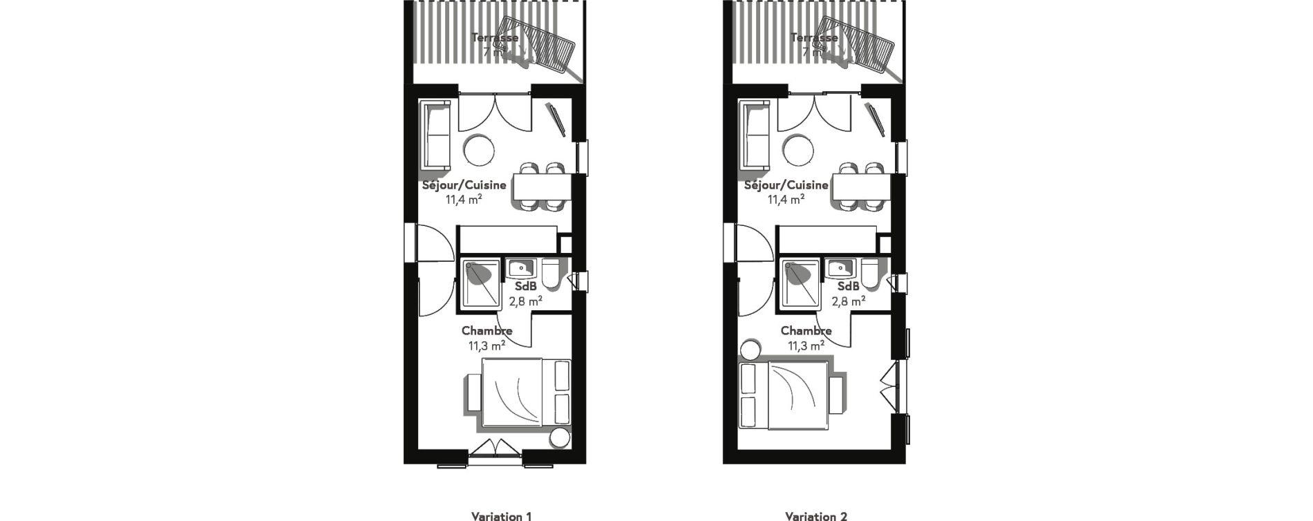 Appartement T2 de 25,50 m2 à Lecci Centre