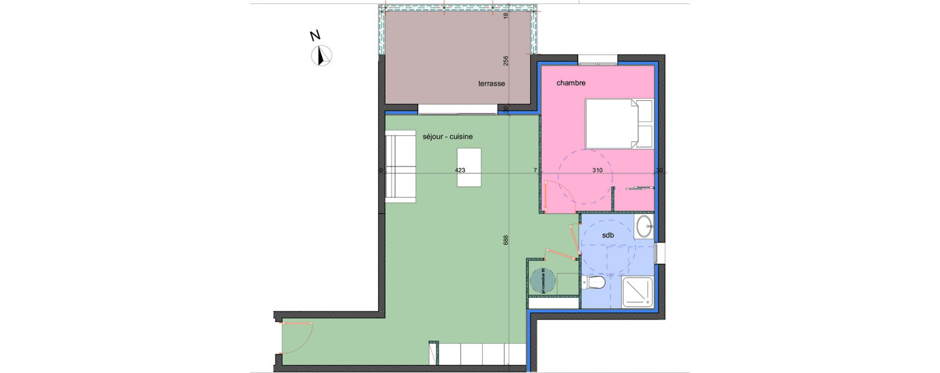 Appartement T2 de 52,00 m2 à Porto-Vecchio Centre