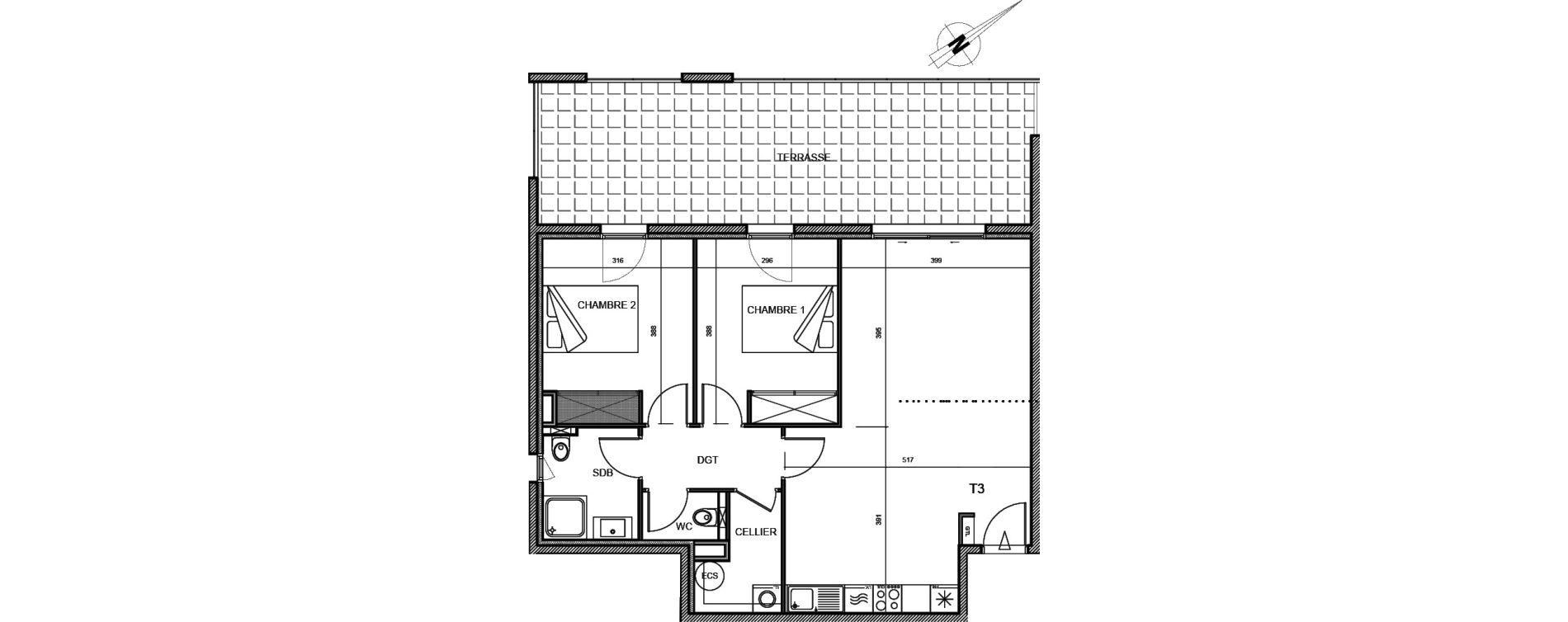 Appartement T3 de 70,40 m2 à Propriano Centre