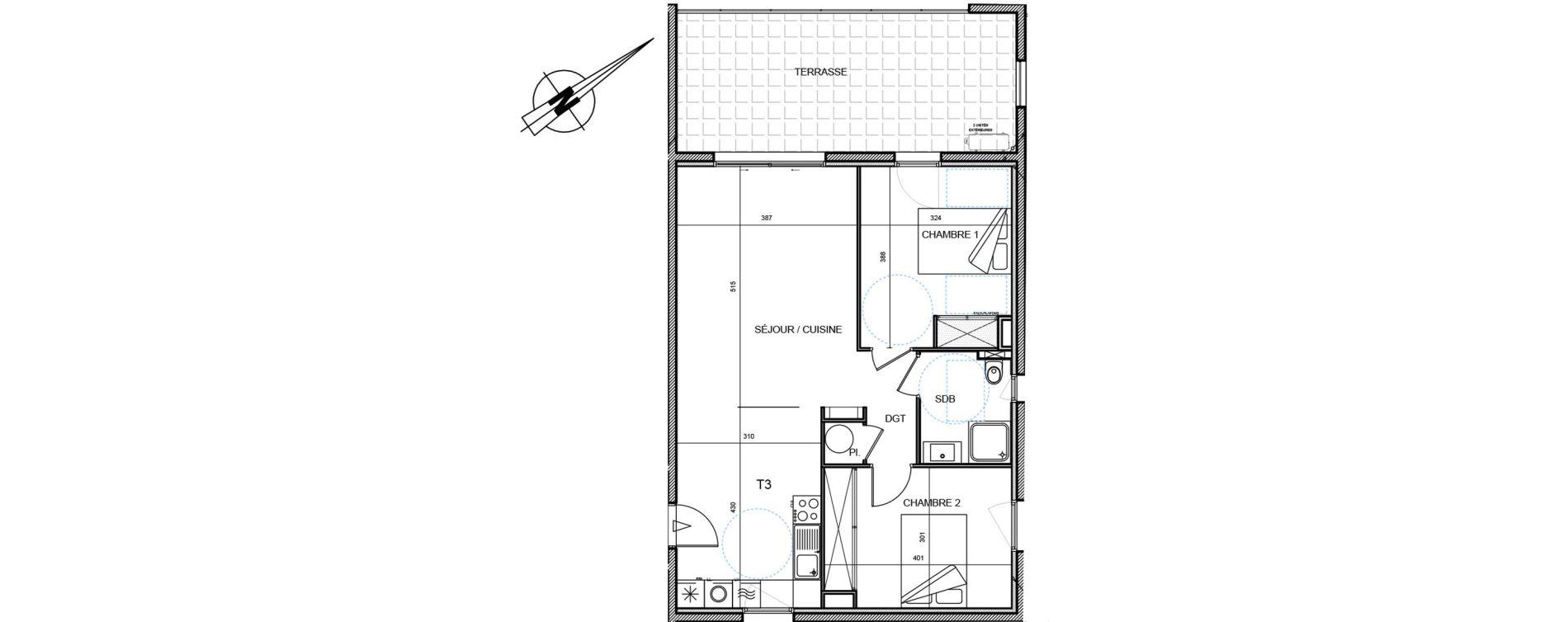 Appartement T3 de 65,35 m2 à Propriano Centre